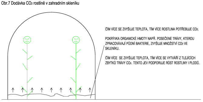 Dodávka CO2 rostlině v zahradním skleníku